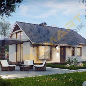 120 m2 çelik ev planı çelik villa 3 boyutlu görünüm