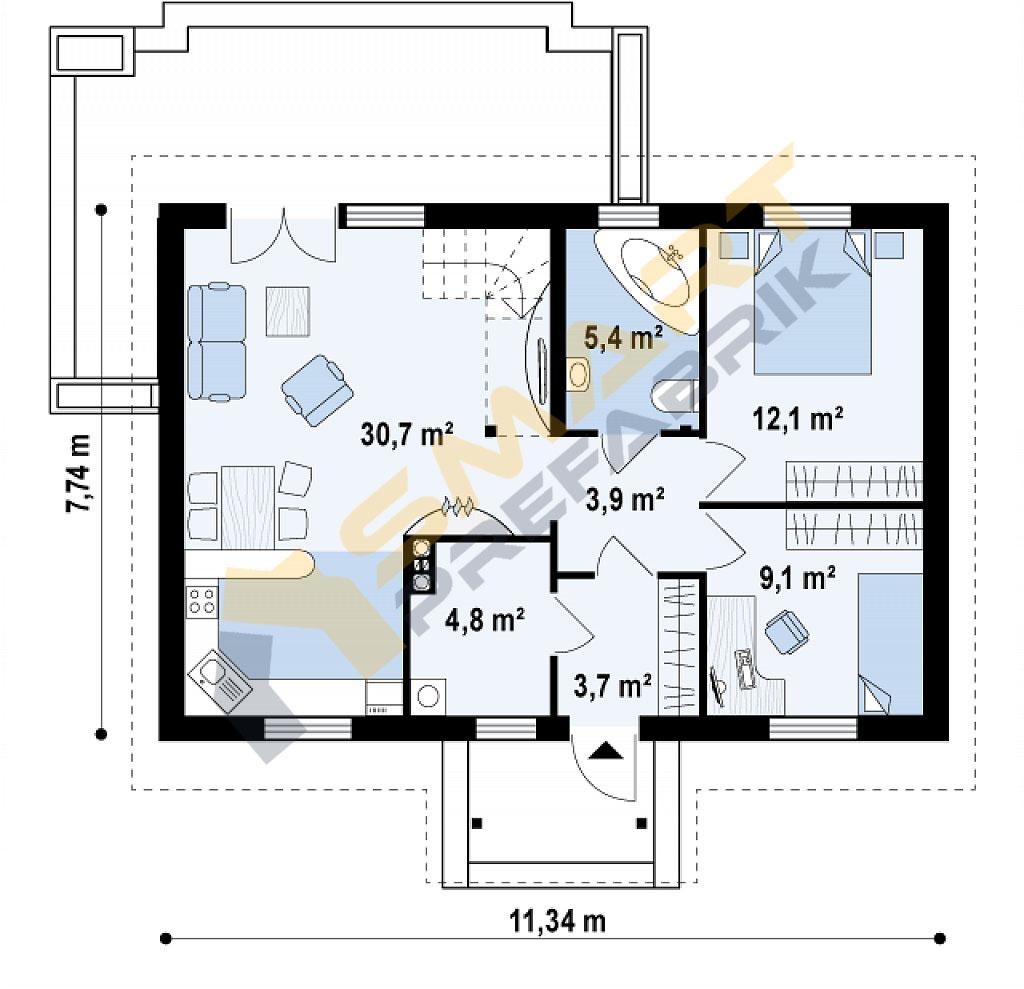 69,7metrekarevilla_modeli-plan