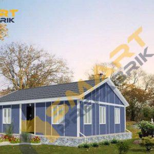 103 metrekare çelik ev modeli planı 3d